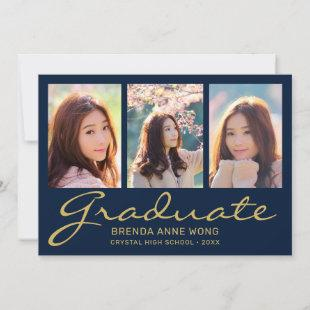 Graduation 3 Photo Modern Gold Typography Script B Announcement