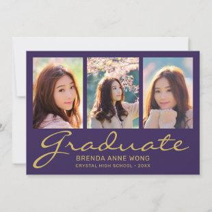 Graduation 3 Photo Modern Gold Typography Script P Announcement