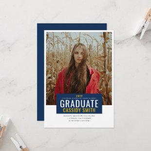 Graduation Announcement, Navy Blue and Gold Invitation