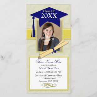 Graduation Announcement Photo Card - Blue & Yellow