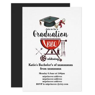Graduation BBQ invitation, grad party Invitation
