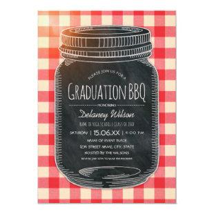 Graduation BBQ Party Vintage Chalkboard Mason Jar Invitation