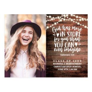 Graduation Bible Verse Rustic Photo String Lights Postcard