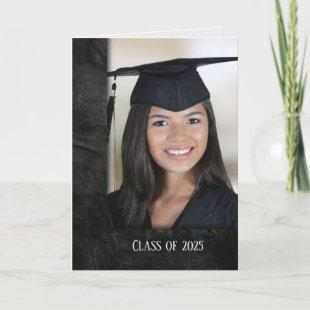 Graduation black leather photo frame invitation