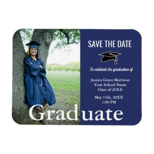 Graduation Blue And White Graduate Photo Magnet