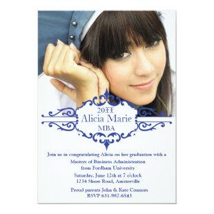 Graduation Blue Photo Invitation
