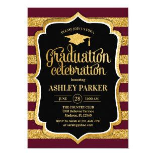 Graduation - Burgundy Gold Black Invitation