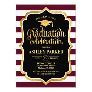 Graduation - Burgundy Gold Black White Invitation