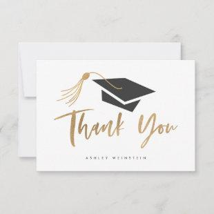 Graduation Cap and Tassel Gold Foil Thank You Card