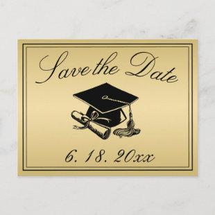 Graduation Cap Diploma Gold Save the Date Announcement Postcard