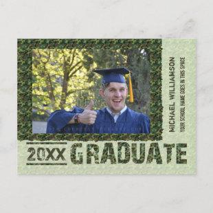 Graduation Class 2020 Camouflage Photo Customized Announcement Postcard