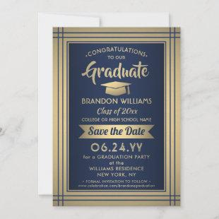 Graduation Congratulations Navy Blue and Gold Save The Date