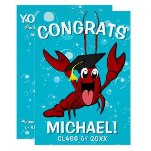 Graduation Crawfish Boil Lobster Seafood Party Invitation