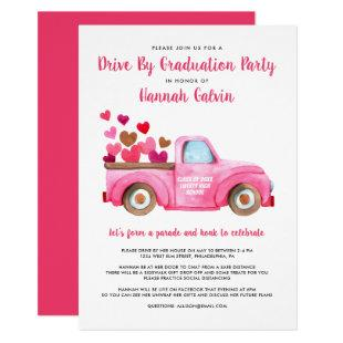 Graduation Drive By Parade Pink Retro Truck Hearts Invitation
