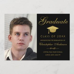 Graduation Elegant Gold Script Black Photo Grad Invitation