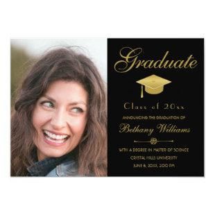 Graduation Elegant Gold Script Black Photo Party Invitation
