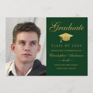 Graduation Elegant Gold Script Green Photo Grad Invitation