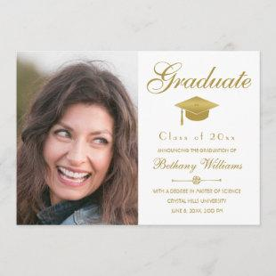 Graduation Elegant Gold Script White Photo Party Invitation