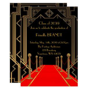 Graduation, Gatsby style, Red Carpet style, Black Invitation