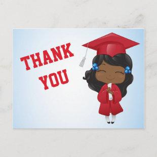 Graduation Girl in RED Announcement Postcard