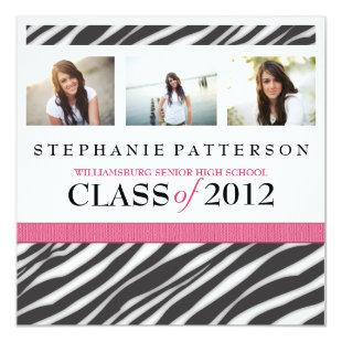 Graduation Glamour Girl Zebra Print with Hot Pink Invitation