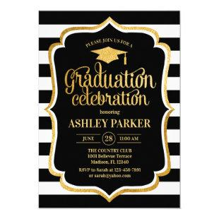 Graduation - Gold Black White Stripes Invitation
