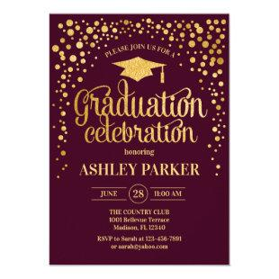 Graduation - Gold Burgundy Invitation