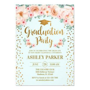 Graduation - Gold Mint Floral Invitation