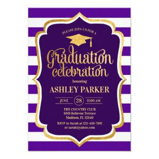 Graduation - Gold Purple White Stripes Invitation