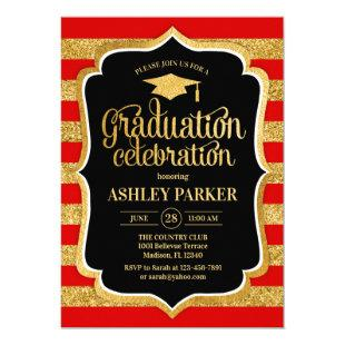 Graduation - Gold Red Black White Stripes Invitation