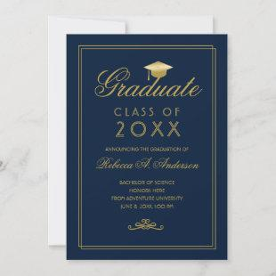 Graduation Gold Script Grad Cap Minimalist Blue Announcement