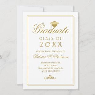 Graduation Gold Script Grad Cap Minimalist White Announcement