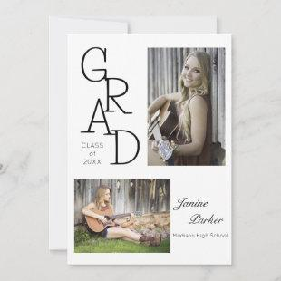 Graduation Grad Class of Add Two Photos Custom Announcement
