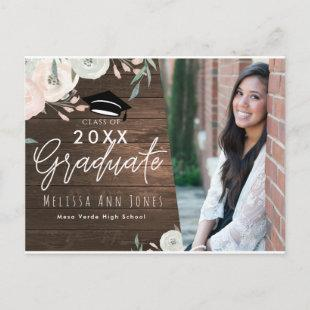 Graduation Graduate Rustic Wood Floral Chic Photo Invitation Postcard