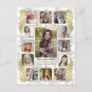 Graduation High School Photo Collage | Gold Marble Announcement Postcard
