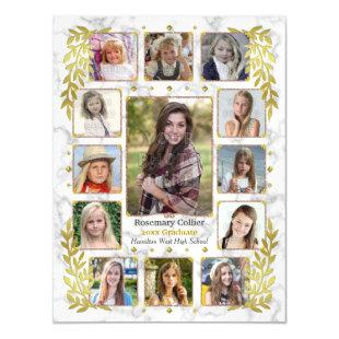 Graduation High School Photo Collage | Marble Gold Magnetic Invitation