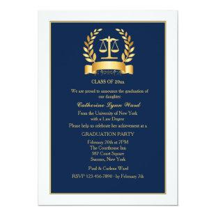 Graduation Honors Navy and White Invitation