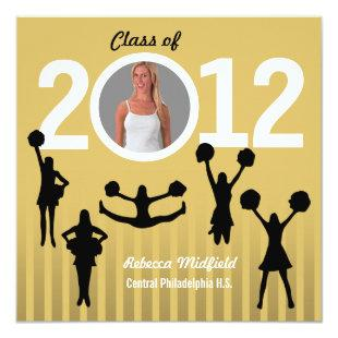Graduation Invitation Cheerleader Add Photo Gold