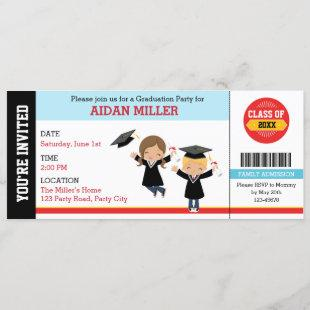 Graduation Invitations Ticket Style with Boy Girl