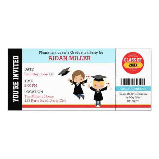 Graduation  Ticket Style with Boy Girl