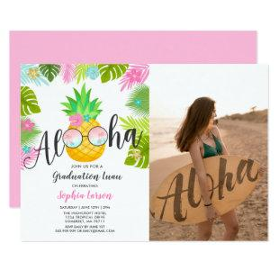 Graduation Luau Party Invitation Pineapple Grad