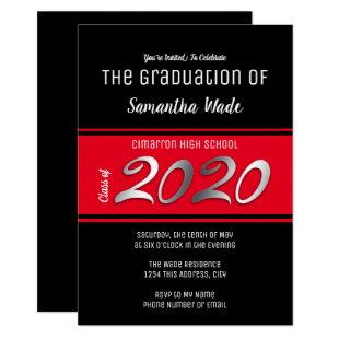 Graduation Modern and Simple Red 2020 Party Invitation