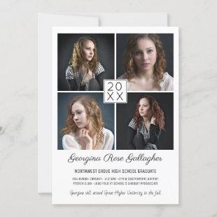 Graduation Modern Photo Collage Simple Grad Announcement