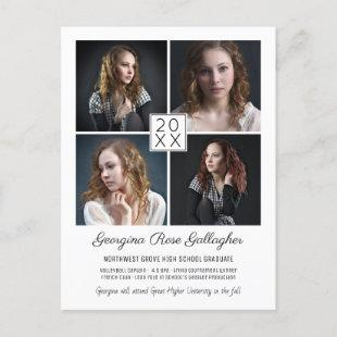 Graduation Modern Photo Collage Simple Grad Announcement Postcard