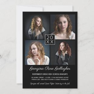 Graduation Modern Photo Collage Simple Grad Black Announcement