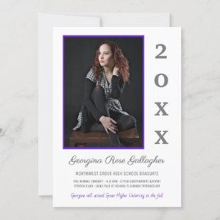 Graduation Modern Photo Simple Grad Year Purple Announcement