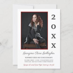 Graduation Modern Photo Simple Grad Year Red Gray Announcement