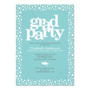 Graduation modern simple typography on aqua blue invitation
