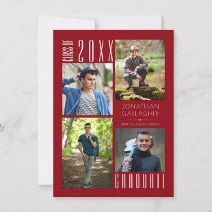 Graduation Modern Sleek Four Photos Red Announcement