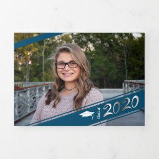 Graduation Multi Photo Simple Blue Confetti 2020 Tri-Fold Announcement